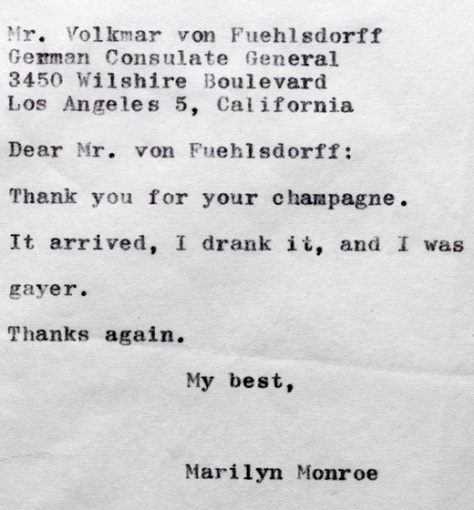 Marilyn Thankyou note