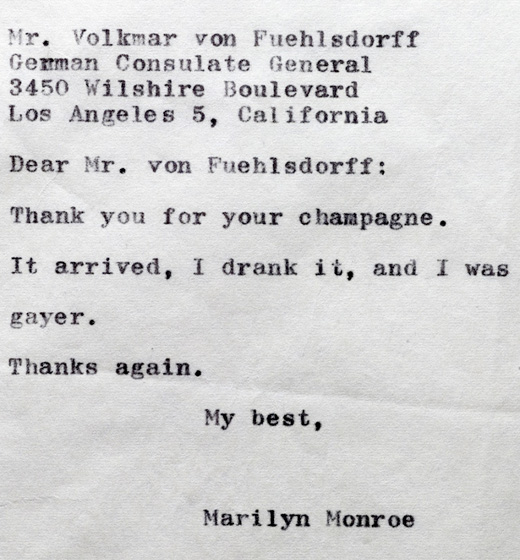 Marilyn Thankyou note